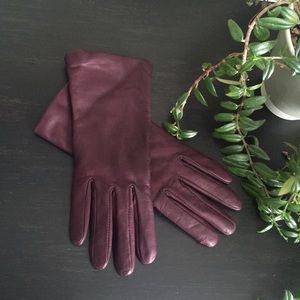 Deep purple leather gloves with cashmere lining